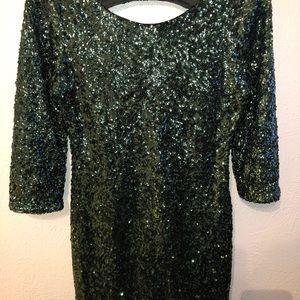 Express green sequenced dress!